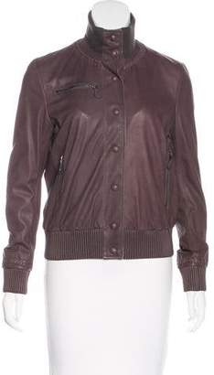Bottega Veneta Leather Button-Up Jacket