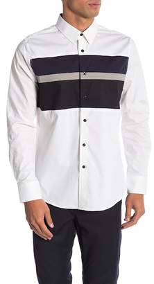 Karl Lagerfeld Colorblock Long Sleeve Modern Fit Shirt