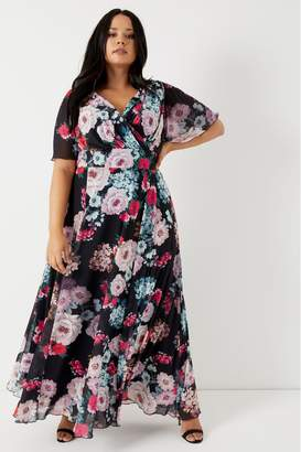 Scarlett & Jo Womens Curve Floral Maxi Dress - Black