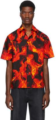 MSGM Black and Red Flame Print Shirt