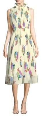 Sleeveless Pleated Ruffle Dress
