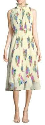 Tibi Sleeveless Pleated Ruffle Dress