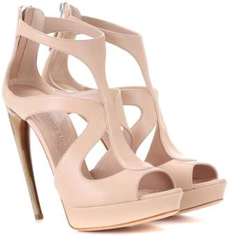Alexander McQueen Curved horn-heel leather sandals