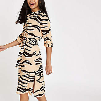 River Island Petite beige tiger print shirt dress