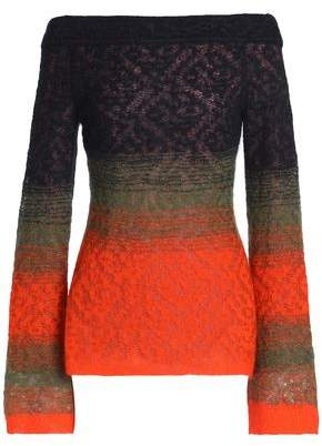 Peter Pilotto Off-the-shoulder Degrade Open-knit Sweater