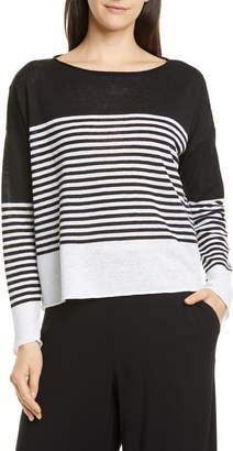 Eileen Fisher Stripe Colorblock Linen & Cotton Sweater