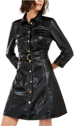 INC International Concepts I.n.c. Faux-Leather Snake-Embossed Shirtdress