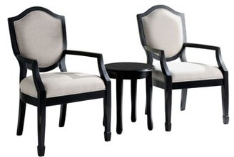 Furniture of America Hallow Black 3-Piece Accent Table and Chair Set