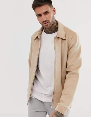 Asos Design DESIGN faux suede zip through jacket in stone