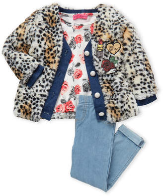 Betsey Johnson Toddler Girls) 3-Piece Cheetah Plush Jacket & Chambray Leggings Set