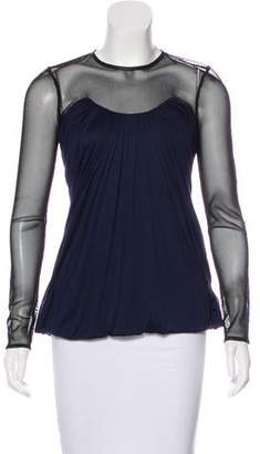 Yigal Azrouel Mesh-Accented Long Sleeve Top