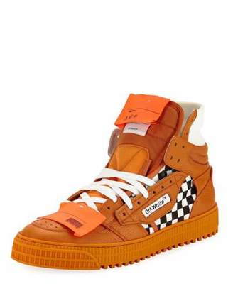 Off-White Men's Low 3.0 Leather High-Top Sneakers, Orange