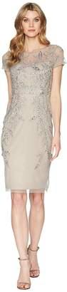 Adrianna Papell Short Sleeve Beaded Cocktail Dress Women's Dress