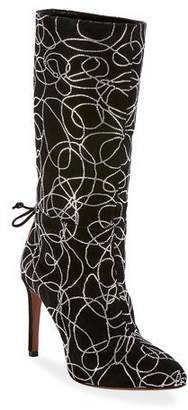 Alaia Suede Crystal Zip Mid-Calf Boots