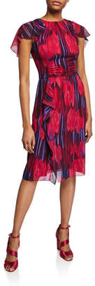 Halston Printed High-Neck Flutter-Sleeve Dress