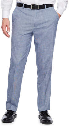 Jf J.Ferrar Blue Slub Slim Fit Stretch Suit Pants