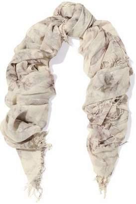 Chan Luu Fringed Printed Cashmere And Silk-Blend Gauze Scarf