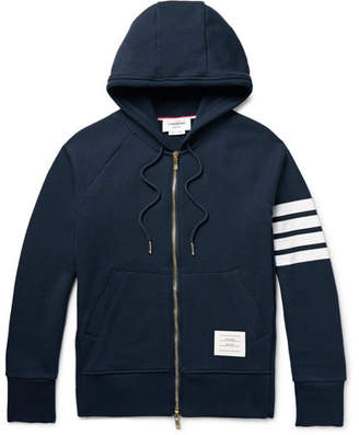 Thom Browne Striped Loopback Cotton-Jersey Zip-Up Hoodie $725 thestylecure.com