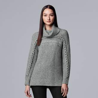 Vera Wang Women's Simply Vera Braided Cable-Knit Cowlneck Sweater