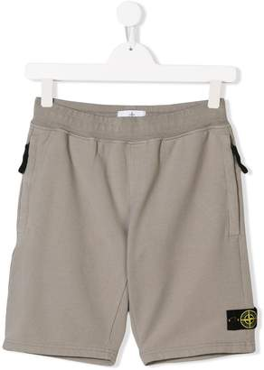 Stone Island Junior logo badge shorts