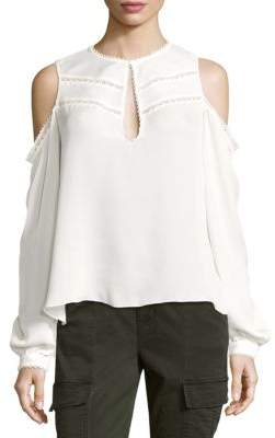 Haute Hippie Fiona Cold-Shoulder Silk Top