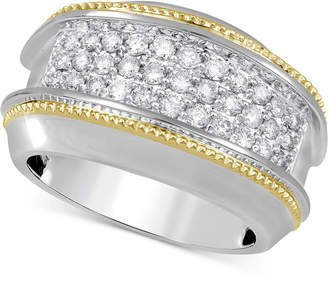 Macy's Men's Diamond Two-Tone Cluster Ring (1 ct. t.w.) in 10k Gold & White Gold