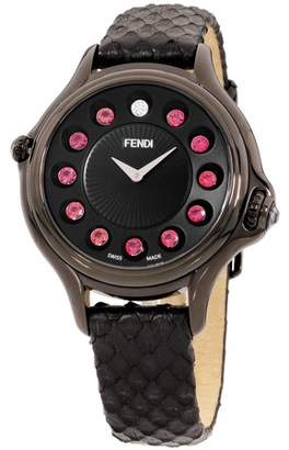 Fendi Crazy Carats Black Dial Leather Strap Ladies Watch F110031011T05