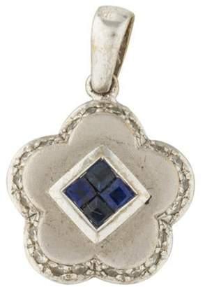 18K Sapphire & Diamond Flower Pendant white 18K Sapphire & Diamond Flower Pendant