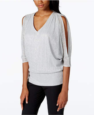 MSK Split-Sleeve Metallic Blouson Top $69 thestylecure.com