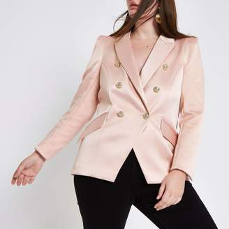 River Island Womens Plus Pink satin double breasted tux jacket
