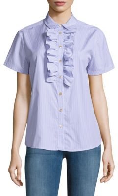 Striped Ruffle-Front Shirt