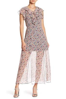 Anna Sui Scattered Flowers Laceup Silk Dress