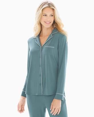 Cool Nights Long Sleeve Notch Collar Pajama Top Atlantic Green