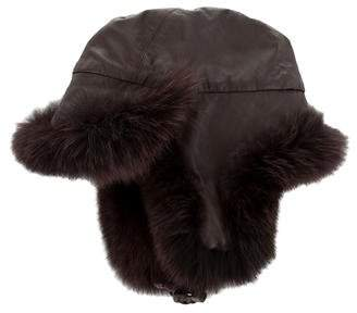 Pologeorgis Fur-Trimmed Leather Hat