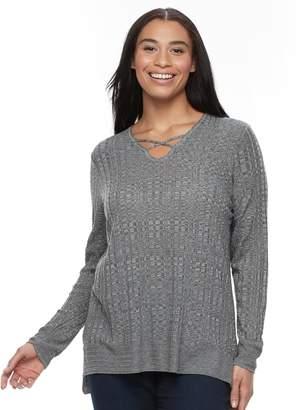 Apt. 9 Plus Size Crisscross Ribbed Sweater