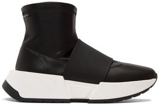 MM6 MAISON MARGIELA SSENSE Exclusive Black Leather Second Skin High-Top Sneakers