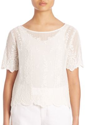 Polo Ralph Lauren Embroidered Tulle Top $198 thestylecure.com