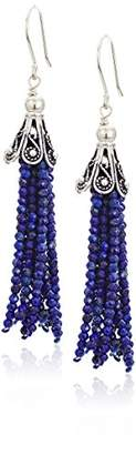 Lapis Lazuli Beaded Tassel Earrings with Sterling Silver Textured Clip-On Earrings