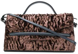 Zanellato ruched velvet shoulder bag