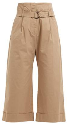 Brunello Cucinelli High Rise Cropped Cotton Blend Trousers - Womens - Beige