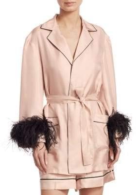 Prada Feather-Trim Silk Twill Robe