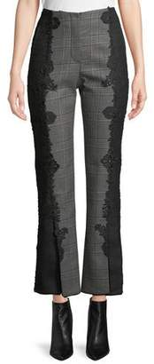Jonathan Simkhai E-Cig Check Wool Applique Straight-Leg Pants