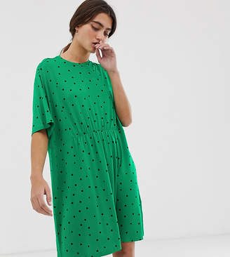 Monki triangle dot print jersey mini smock dress in green