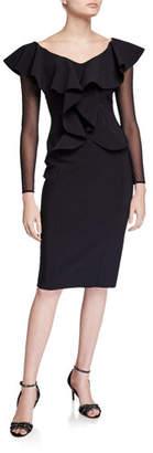 Chiara Boni V-Neck Sheer Sleeve Ruffle Front Knee-Length Dress