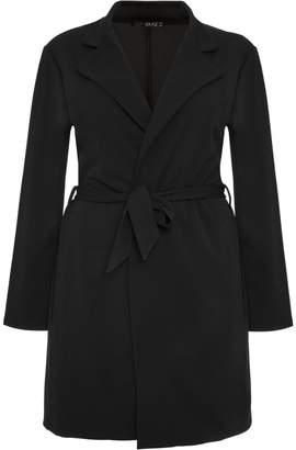 Quiz Curve Black Crepe Lapel Tie Waist Jacket
