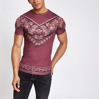 River Island Red chevron paisley print muscle fit T-shirt