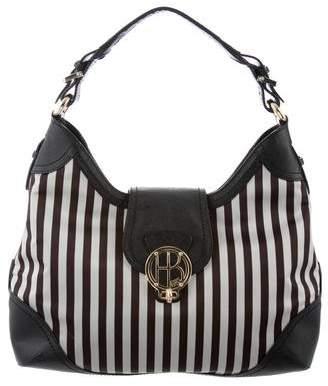 Henri Bendel Leather-Trimmed Striped Bag