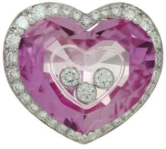 Chopard Happy Diamond 18K White Gold Pink Quartz Heart Ring Size 6