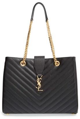 Saint Laurent 'Monogram' Grained Leather Shopper - Black $2,550 thestylecure.com