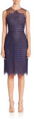 BCBGMAXAZRIA Sleeveless Illusion Neck Lace Dress $368 thestylecure.com